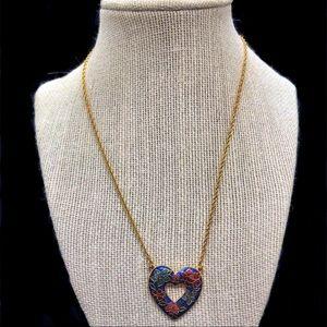 Vintage 1988 Avon Cloisonné Heart Necklace